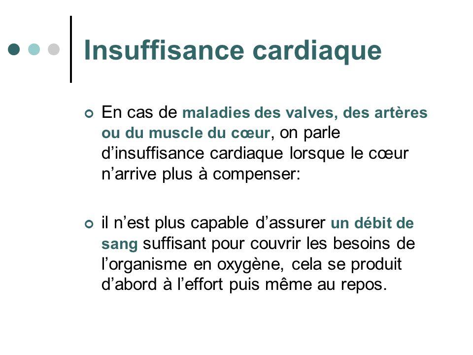 Insuffisance cardiaque En cas de maladies des valves, des artères ou du muscle du cœur, on parle dinsuffisance cardiaque lorsque le cœur narrive plus