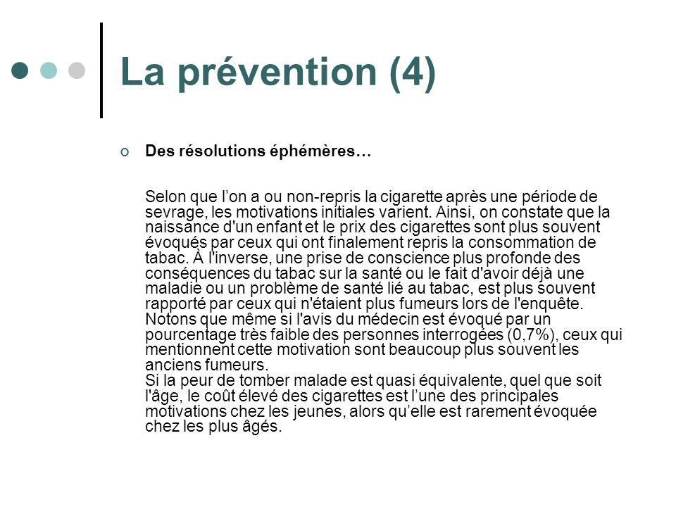 La prévention (4) Des résolutions éphémères… Selon que lon a ou non-repris la cigarette après une période de sevrage, les motivations initiales varien