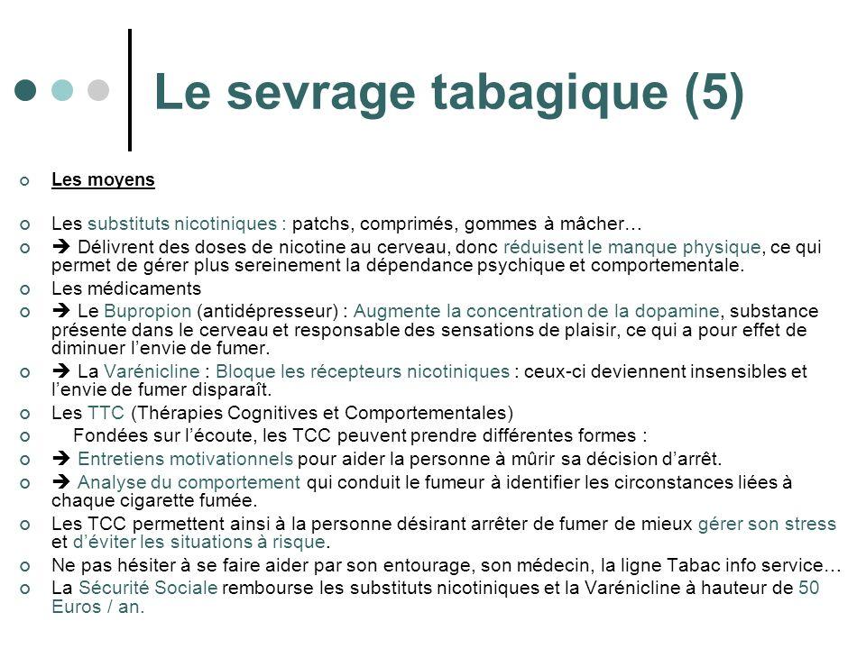 Le sevrage tabagique (5) Les moyens Les substituts nicotiniques : patchs, comprimés, gommes à mâcher… Délivrent des doses de nicotine au cerveau, donc