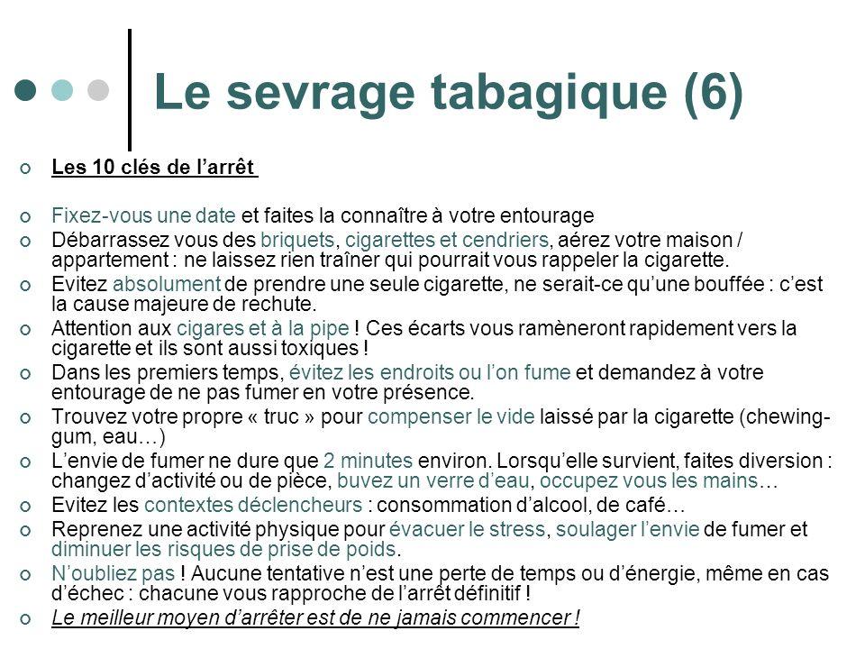 Le sevrage tabagique (6) Les 10 clés de larrêt Fixez-vous une date et faites la connaître à votre entourage Débarrassez vous des briquets, cigarettes