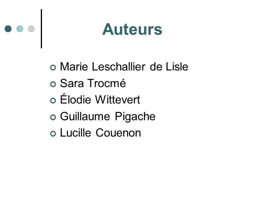 Auteurs Marie Leschallier de Lisle Sara Trocmé Élodie Wittevert Guillaume Pigache Lucille Couenon