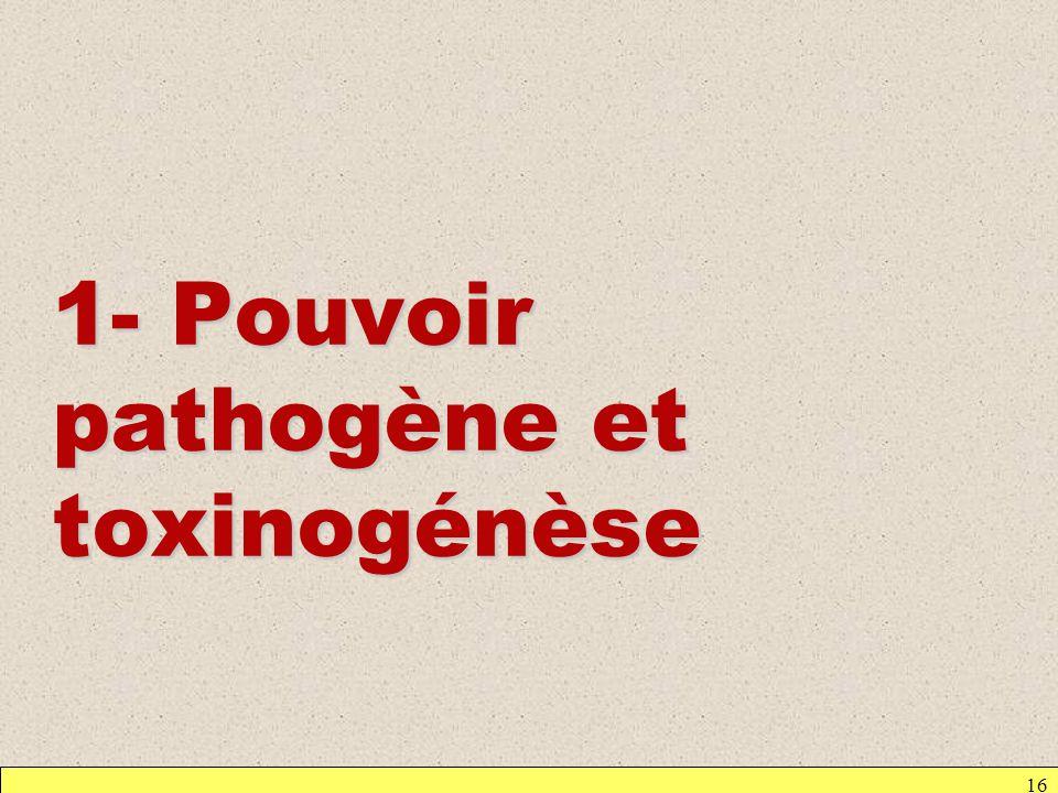 16 1- Pouvoir pathogène et toxinogénèse