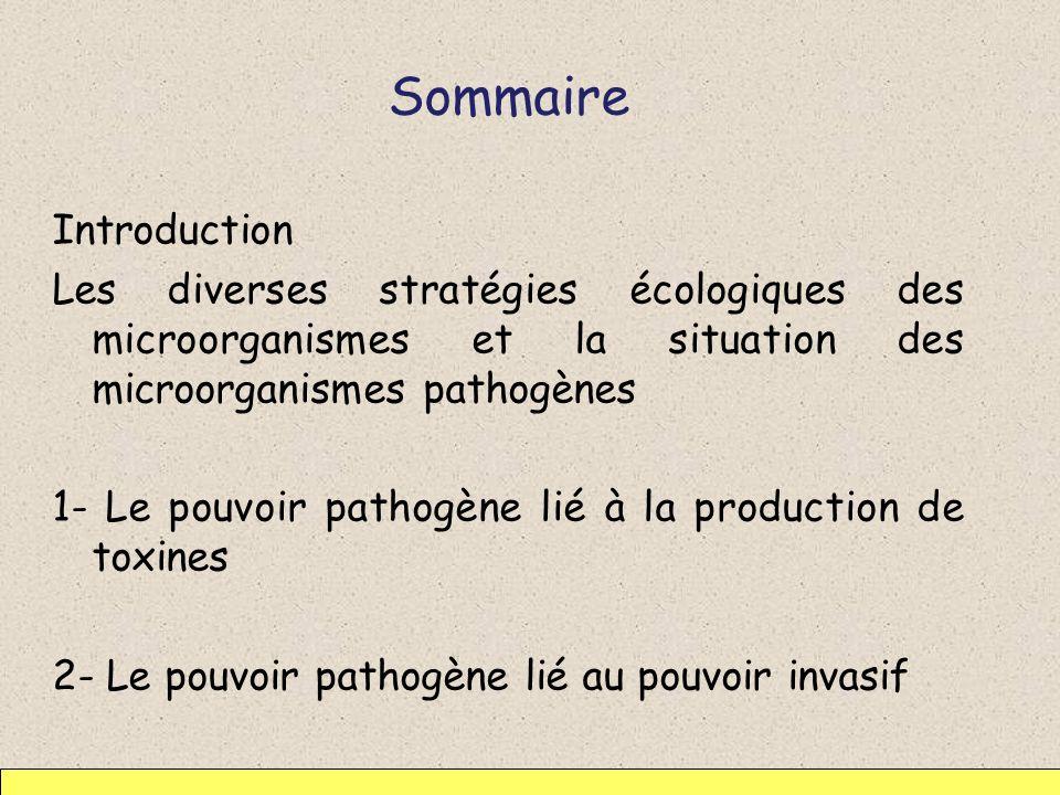 Sommaire Introduction Les diverses stratégies écologiques des microorganismes et la situation des microorganismes pathogènes 1- Le pouvoir pathogène l