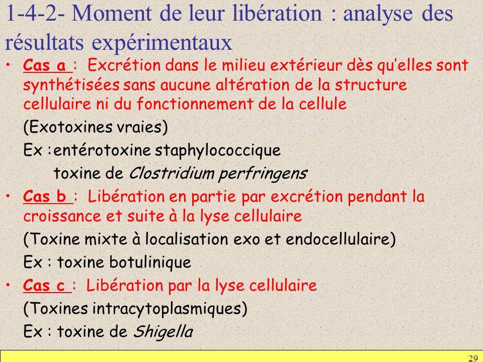 1-4-2- Moment de leur libération : analyse des résultats expérimentaux 29 Cas a : Excrétion dans le milieu extérieur dès quelles sont synthétisées san