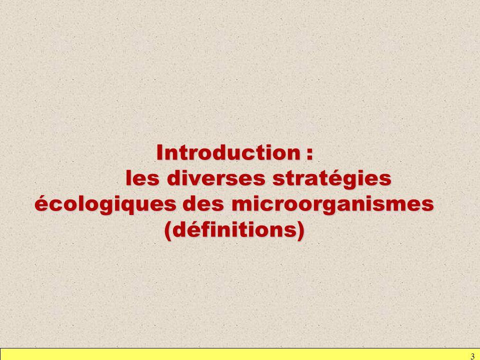 3 Introduction : les diverses stratégies écologiques des microorganismes (définitions)