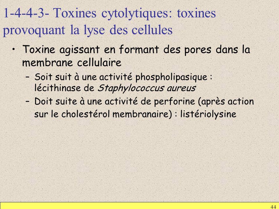 1-4-4-3- Toxines cytolytiques: toxines provoquant la lyse des cellules 44 Toxine agissant en formant des pores dans la membrane cellulaire –Soit suit