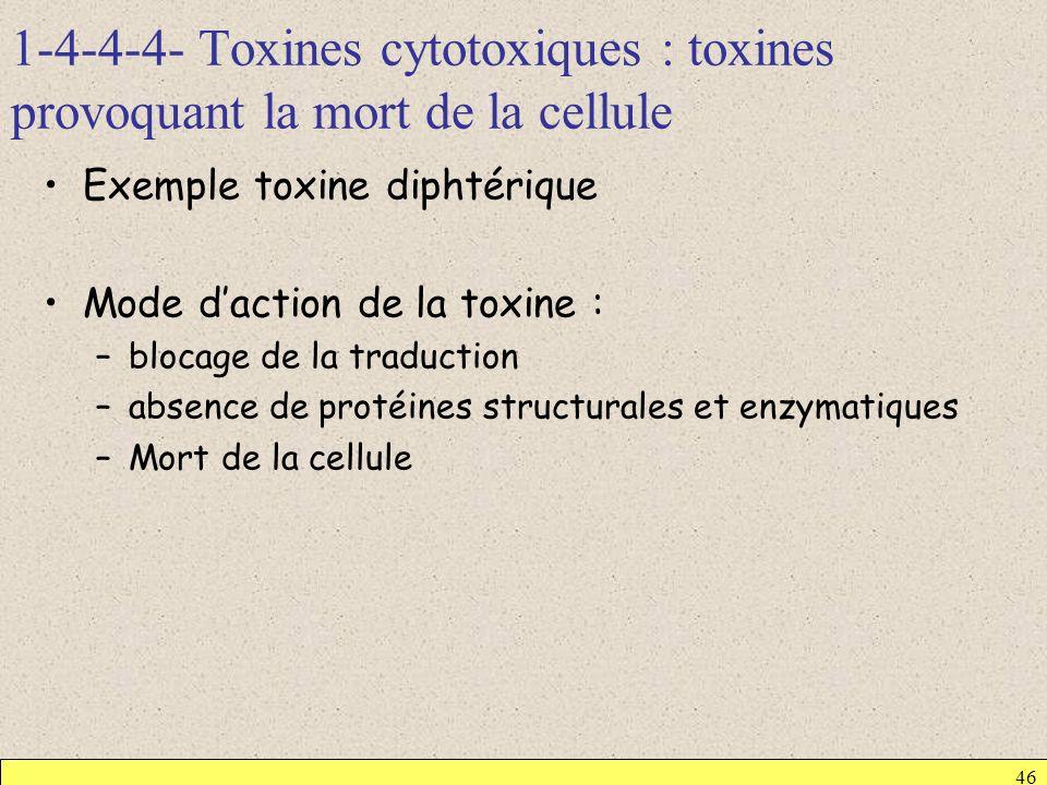 1-4-4-4- Toxines cytotoxiques : toxines provoquant la mort de la cellule 46 Exemple toxine diphtérique Mode daction de la toxine : –blocage de la trad