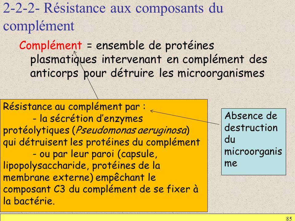 2-2-2- Résistance aux composants du complément 85 Complément = ensemble de protéines plasmatiques intervenant en complément des anticorps pour détruir