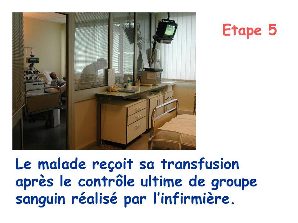 Le malade reçoit sa transfusion après le contrôle ultime de groupe sanguin réalisé par linfirmière. Etape 5