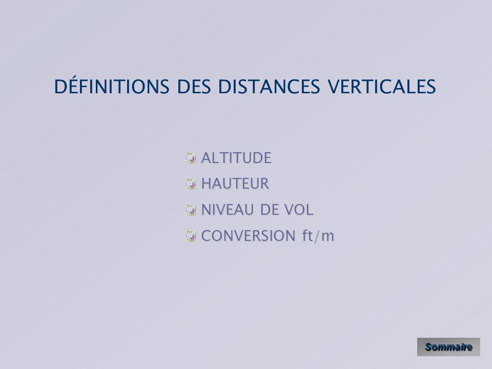 DÉFINITIONS DES DISTANCES VERTICALES Sommaire ALTITUDE ALTITUDE HAUTEUR HAUTEUR NIVEAU DE VOL NIVEAU DE VOL CONVERSION ft/m CONVERSION ft/m