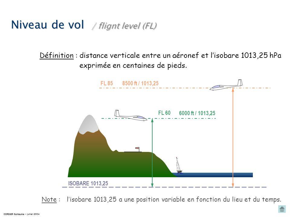Niveau de vol distance verticale entre un aéronef et lisobare 1013,25 hPaDéfinition : FL 85 / flignt level (FL) ISOBARE 1013,25 8500 ft / 1013,25 FL 60 6000 ft / 1013,25 exprimée en centaines de pieds.