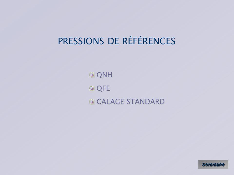 PRESSIONS DE RÉFÉRENCES Sommaire QNH QNH QFE QFE CALAGE STANDARD CALAGE STANDARD