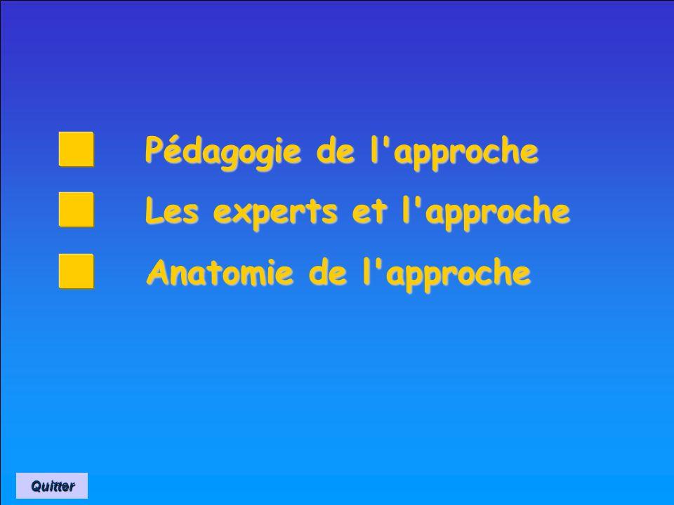 L'APPROCHE L'APPROCHE Technique et pédagogie Technique et pédagogie de Septembre 2002 Quitter Aller au sommaire Aller au sommaire