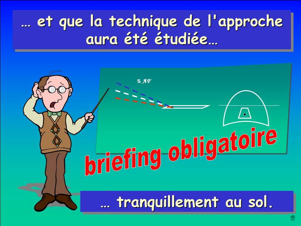 L'étude de l'approche ne sera entreprise que lorsque : Le pilotage de base est acquis Stabilité de la ligne droite Virages coordonnés et symétriques M