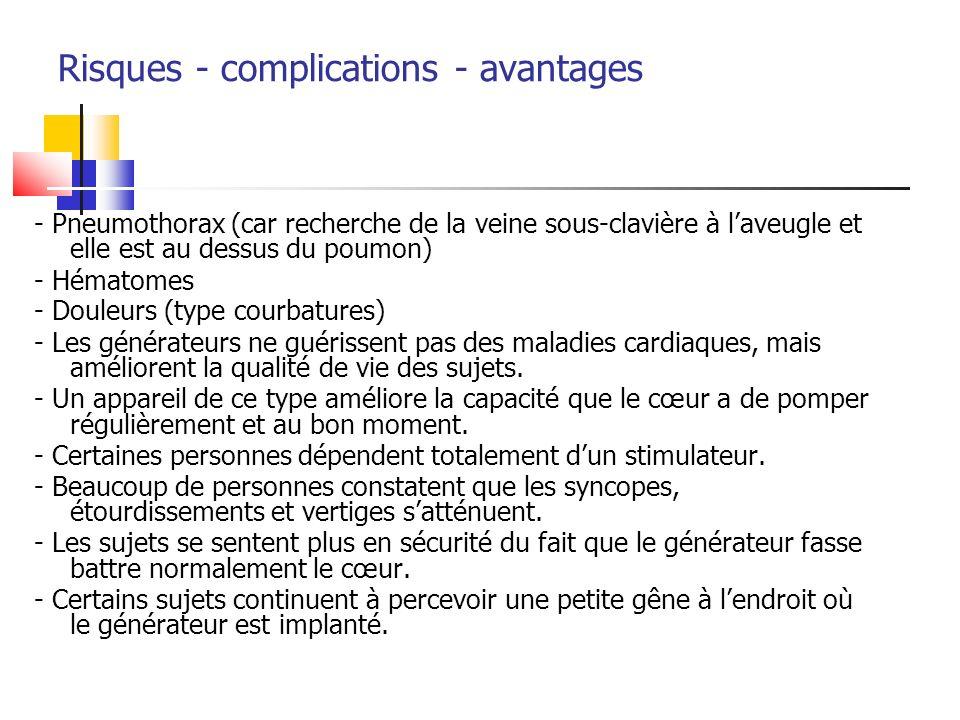Risques - complications - avantages - Pneumothorax (car recherche de la veine sous-clavière à laveugle et elle est au dessus du poumon) - Hématomes -