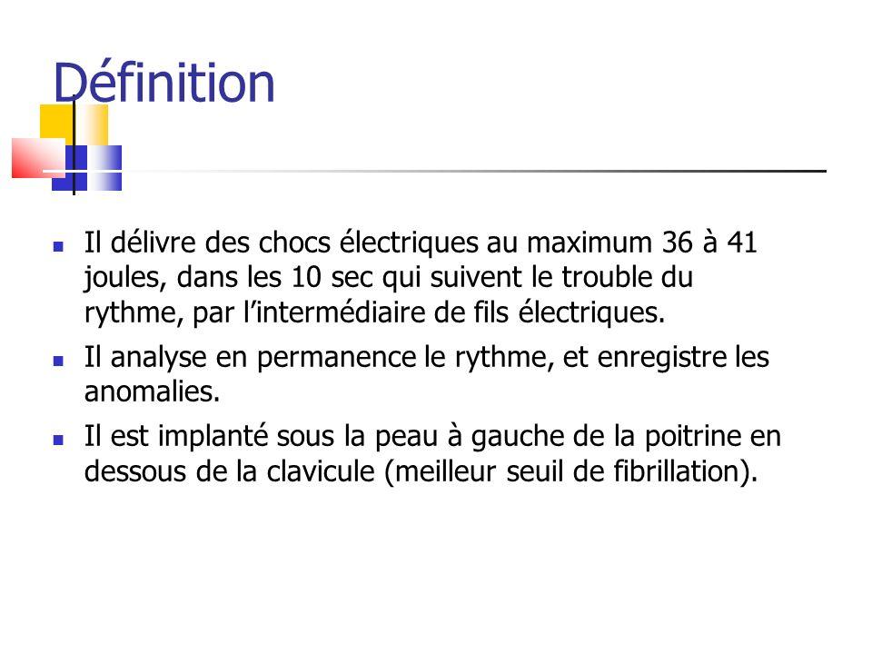 Il délivre des chocs électriques au maximum 36 à 41 joules, dans les 10 sec qui suivent le trouble du rythme, par lintermédiaire de fils électriques.