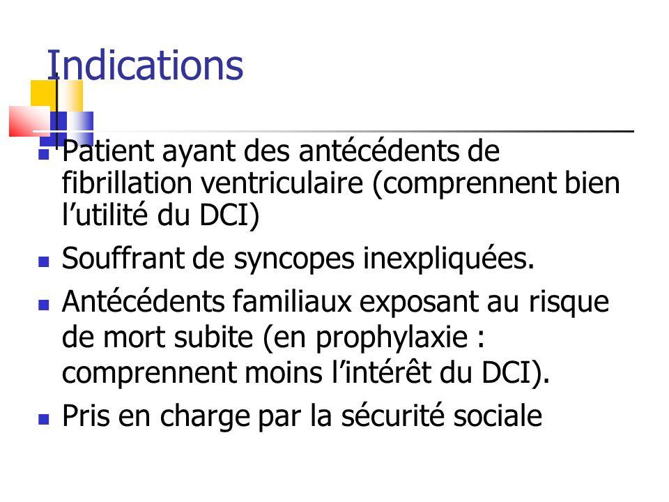 Patient ayant des antécédents de fibrillation ventriculaire (comprennent bien lutilité du DCI) Souffrant de syncopes inexpliquées. Antécédents familia