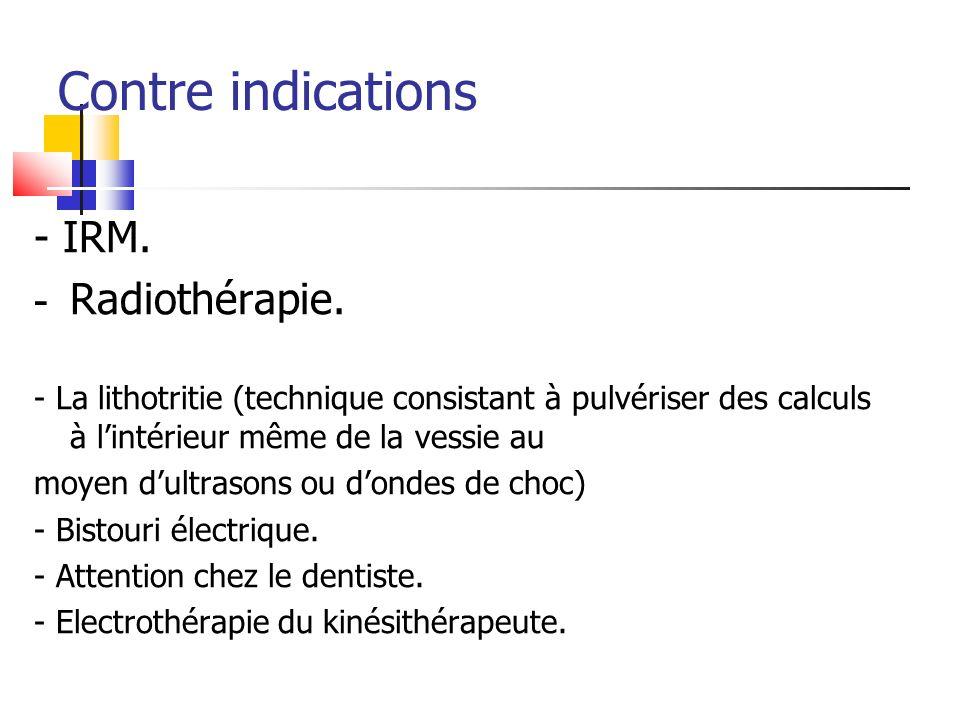 Contre indications - IRM. - Radiothérapie. - La lithotritie (technique consistant à pulvériser des calculs à lintérieur même de la vessie au moyen dul