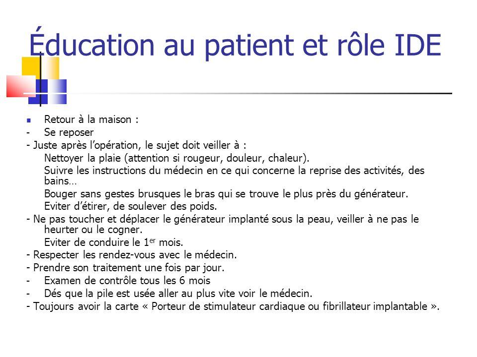 Éducation au patient et rôle IDE Retour à la maison : - Se reposer - Juste après lopération, le sujet doit veiller à : Nettoyer la plaie (attention si