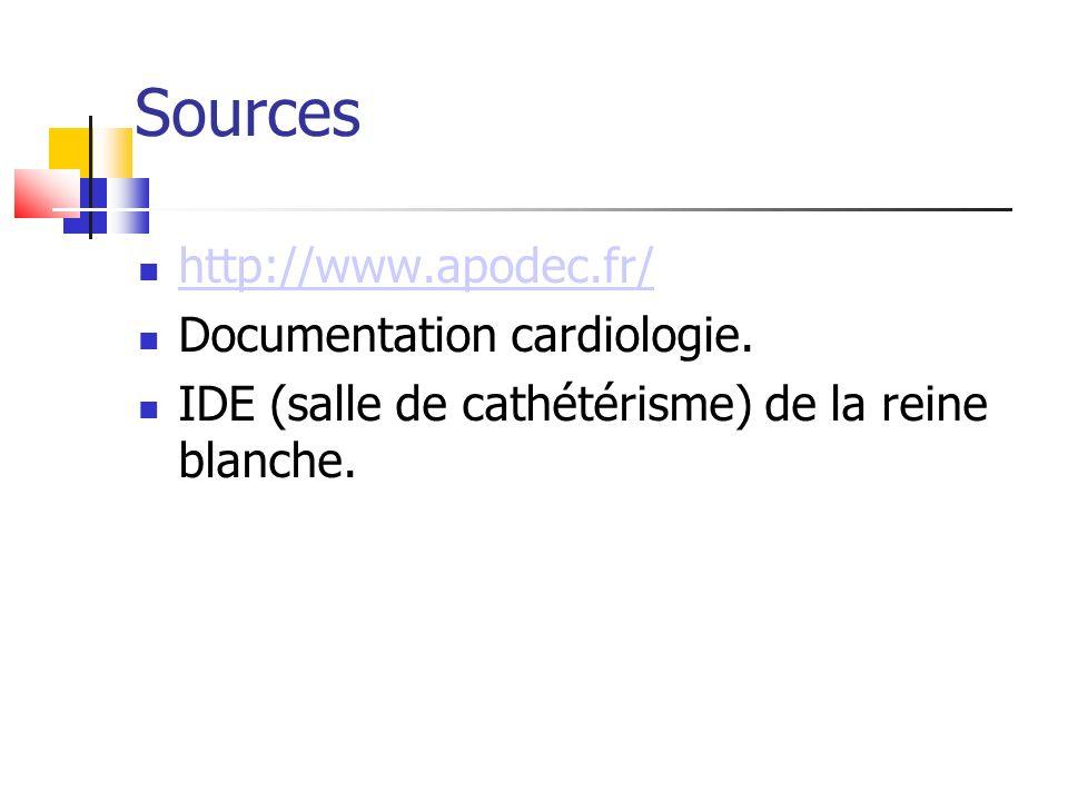 Sources http://www.apodec.fr/ Documentation cardiologie. IDE (salle de cathétérisme) de la reine blanche.