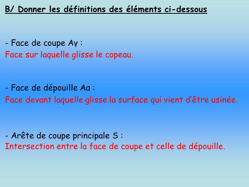 C/ Donner la définitions des différents plans ci-dessous : - Plan de référence Pr : C est un plan perpendiculaire au vecteur Vc (vitesse de coupe) et passant par le point considéré A de l arête de coupe.
