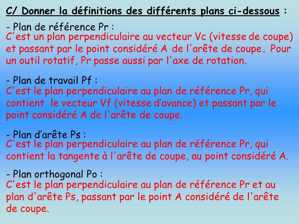 C/ Donner la définitions des différents plans ci-dessous : - Plan de référence Pr : C'est un plan perpendiculaire au vecteur Vc (vitesse de coupe) et