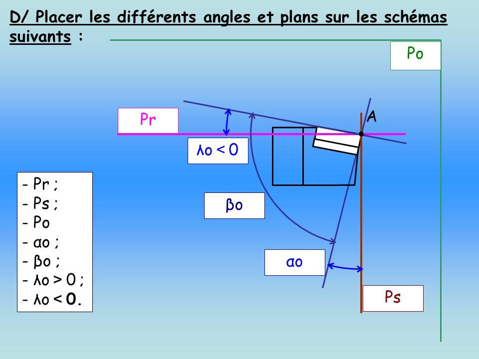 D/ Placer les différents angles et plans sur les schémas suivants : Ps αo βo λo 0 Pr A - Pr ; - Ps ; - Po - αo ; - βo ; - λo 0 ; - λo 0. Po