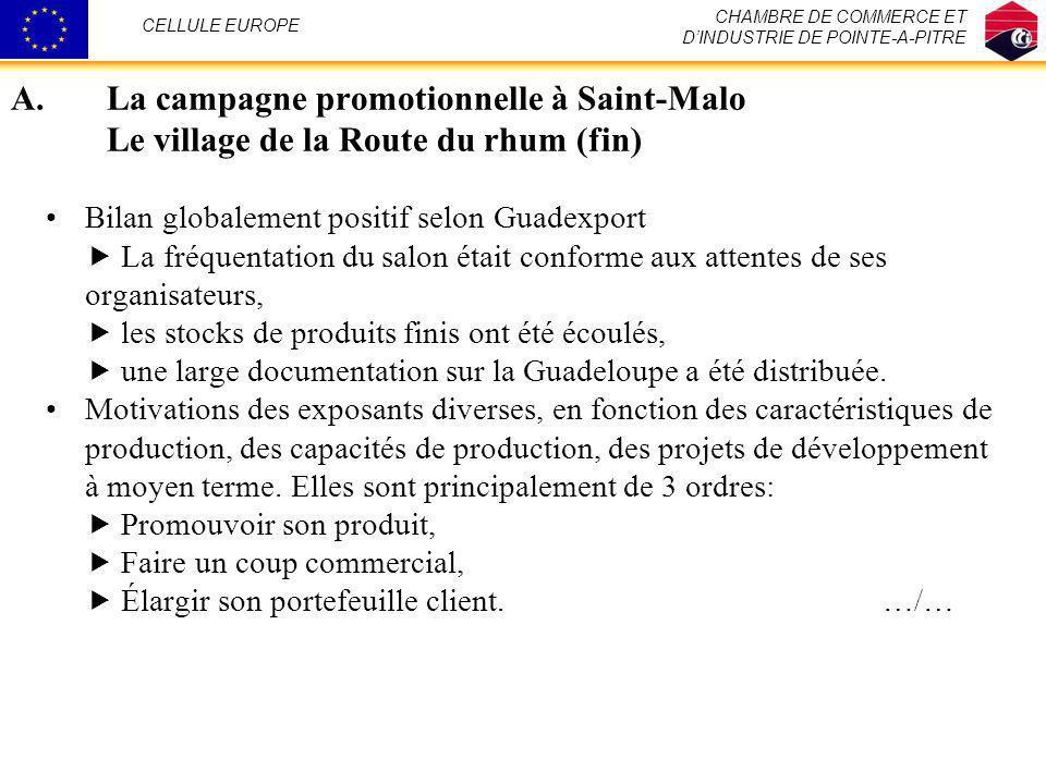 A.La campagne promotionnelle à Saint-Malo Le village de la Route du rhum (fin) Bilan globalement positif selon Guadexport La fréquentation du salon ét