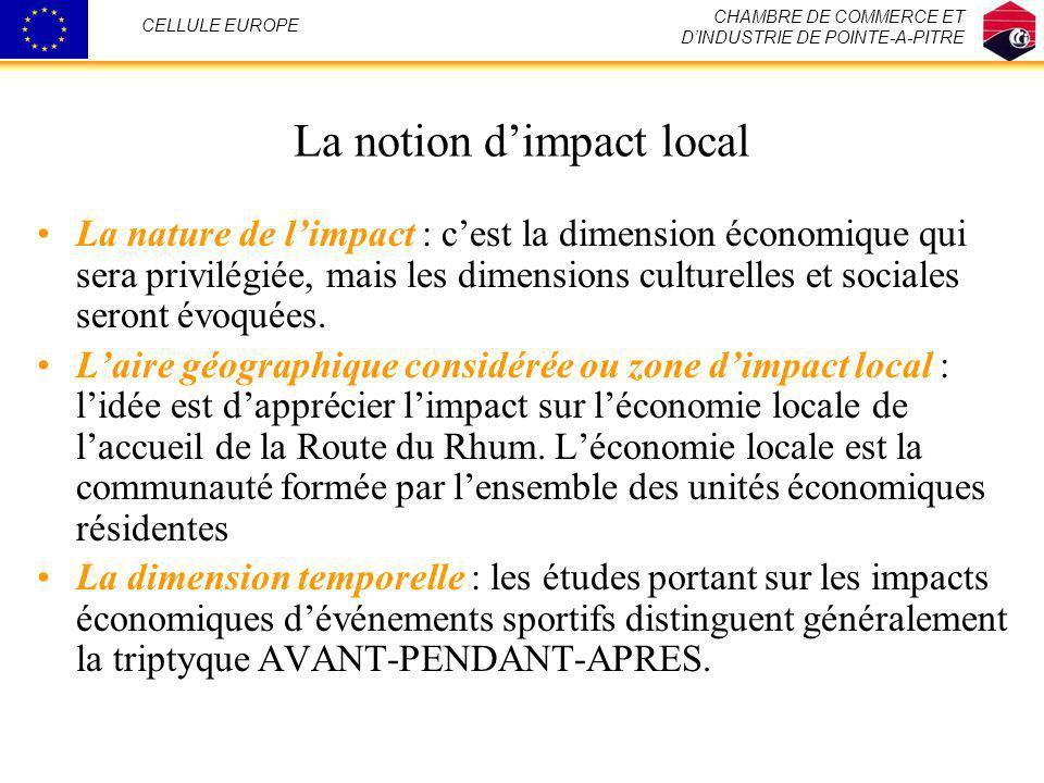 La notion dimpact local La nature de limpact : cest la dimension économique qui sera privilégiée, mais les dimensions culturelles et sociales seront é