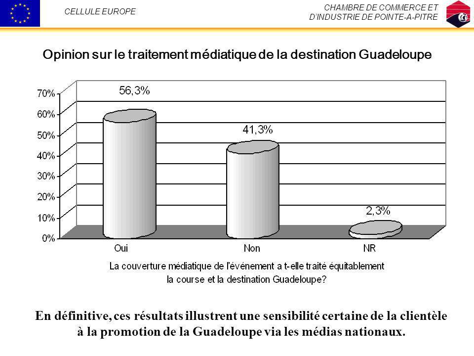 CHAMBRE DE COMMERCE ET DINDUSTRIE DE POINTE-A-PITRE CELLULE EUROPE Opinion sur le traitement médiatique de la destination Guadeloupe En définitive, ce