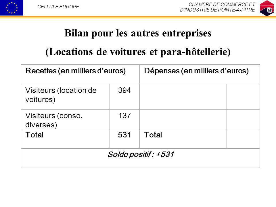 Bilan pour les autres entreprises (Locations de voitures et para-hôtellerie) Recettes (en milliers deuros)Dépenses (en milliers deuros) Visiteurs (loc