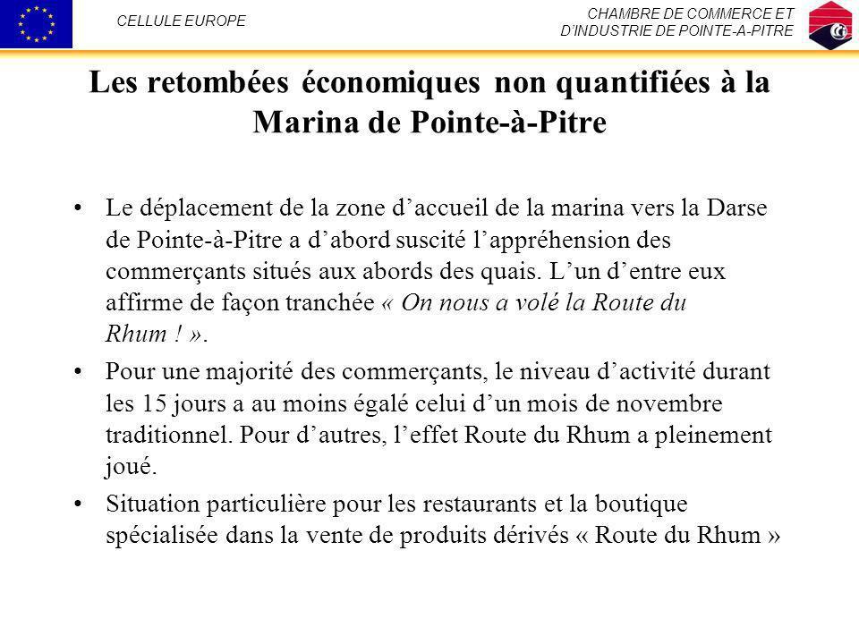 Les retombées économiques non quantifiées à la Marina de Pointe-à-Pitre Le déplacement de la zone daccueil de la marina vers la Darse de Pointe-à-Pitr