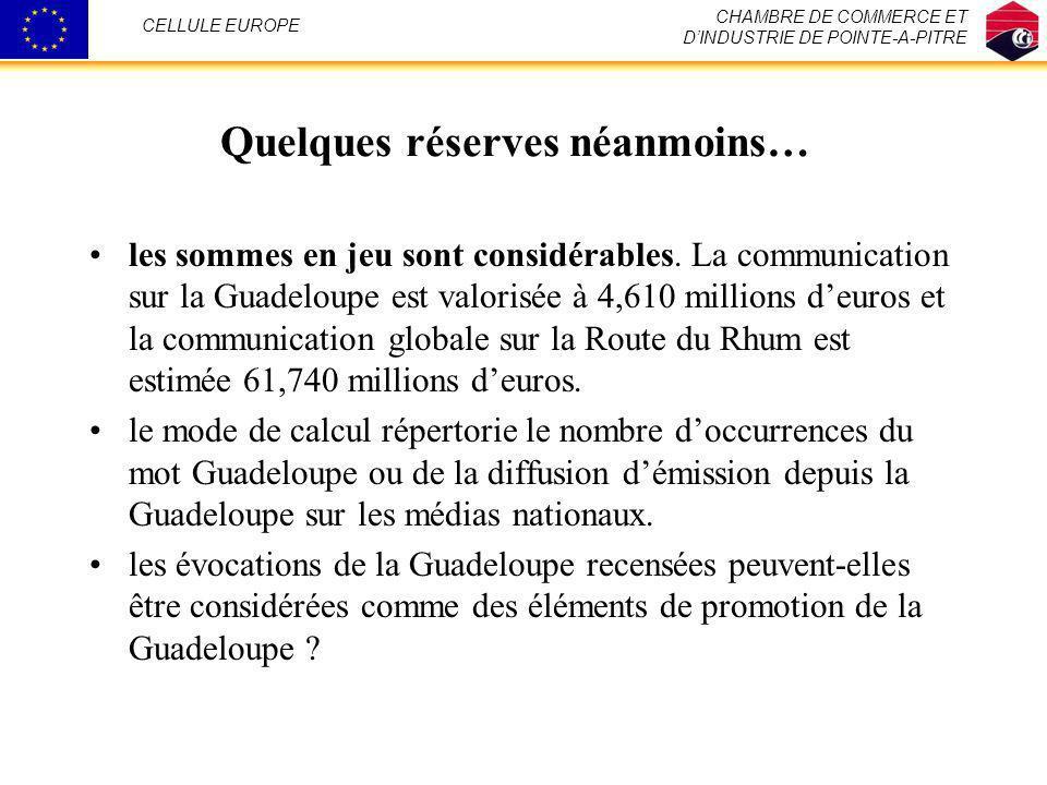 Quelques réserves néanmoins… les sommes en jeu sont considérables. La communication sur la Guadeloupe est valorisée à 4,610 millions deuros et la comm