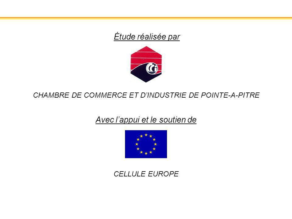 CHAMBRE DE COMMERCE ET DINDUSTRIE DE POINTE-A-PITRE CELLULE EUROPE Étude réalisée par Avec lappui et le soutien de