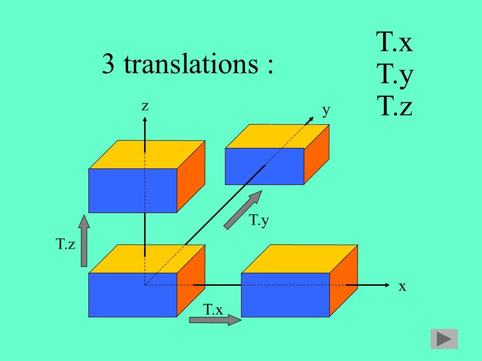 3 translations : x y z T.x T.y T.z T.x T.y T.z