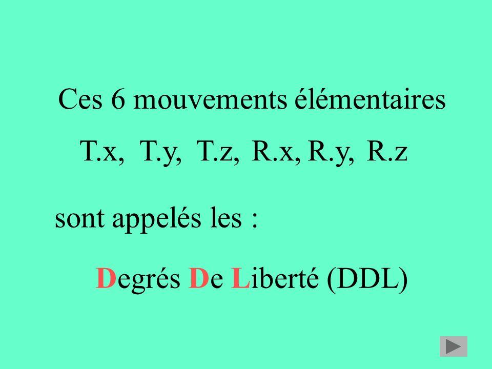 Ces 6 mouvements élémentaires Degrés De Liberté (DDL) T.x,T.y,T.z,R.x,R.y,R.z sont appelés les :