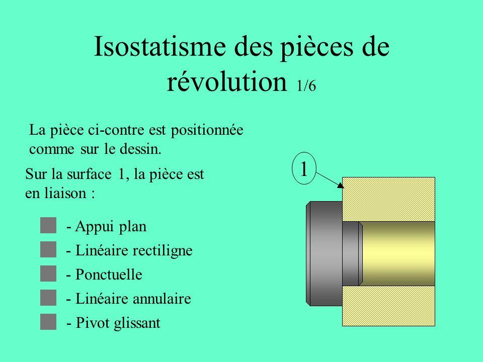 Isostatisme des pièces de révolution 1/6 La pièce ci-contre est positionnée comme sur le dessin.