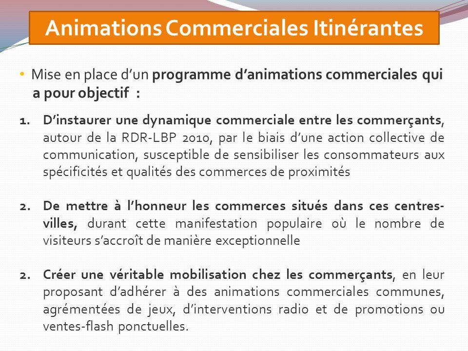 Animations Commerciales Itinérantes Mise en place dun programme danimations commerciales qui a pour objectif : 1.Dinstaurer une dynamique commerciale