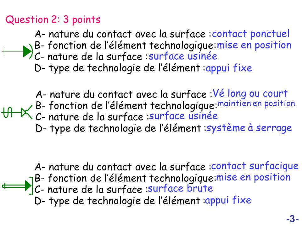 -4- Question 3: 3 points A- nature du contact avec la surface : B- fonction de lélément technologique: C- nature de la surface : D- type de technologie de lélément : contact strié mise en position surface brute Serrage concentrique A- nature du contact avec la surface : B- fonction de lélément technologique: C- nature de la surface : D- type de technologie de lélément : pointe tournante mise en position surface usinée soutien irréversible A- nature du contact avec la surface : B- fonction de lélément technologique: C- nature de la surface : D- type de technologie de lélément : contact surfacique mise en position surface usinée Centreur court fixe Centreur court