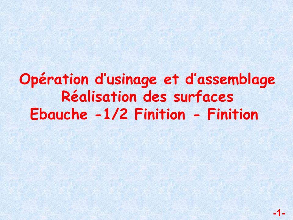 Opération dusinage et dassemblage Réalisation des surfaces Ebauche -1/2 Finition - Finition -1-