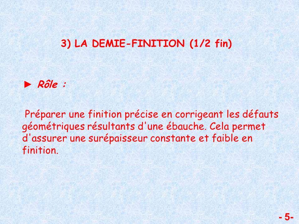 - 5- 3) LA DEMIE-FINITION (1/2 fin) Rôle : Préparer une finition précise en corrigeant les défauts géométriques résultants d'une ébauche. Cela permet