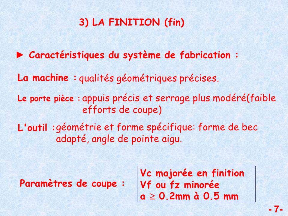 - 7- 3) LA FINITION (fin) Caractéristiques du système de fabrication : La machine : qualités géométriques précises. Le porte pièce : appuis précis et
