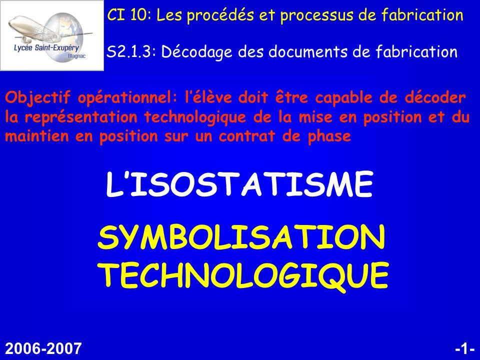 -1- LISOSTATISME SYMBOLISATION TECHNOLOGIQUE 2006-2007 CI 10: Les procédés et processus de fabrication S2.1.3: Décodage des documents de fabrication O