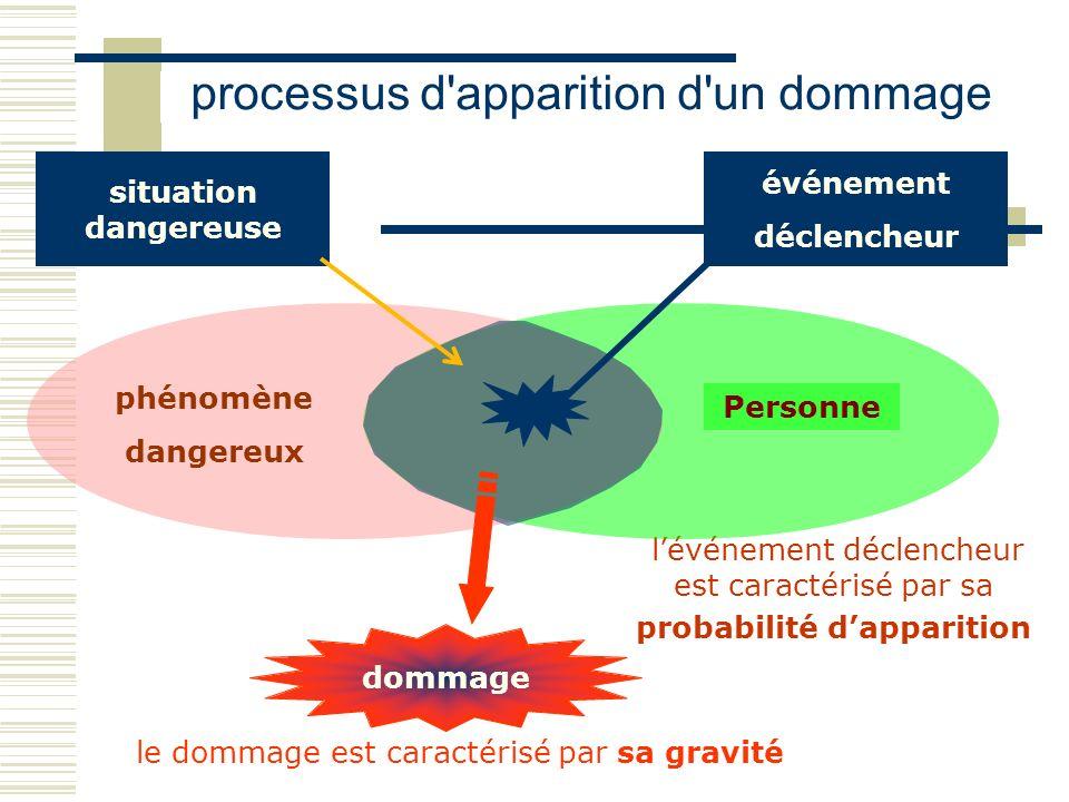 processus d'apparition d'un dommage lévénement déclencheur est caractérisé par sa probabilité dapparition le dommage est caractérisé par sa gravité Pe