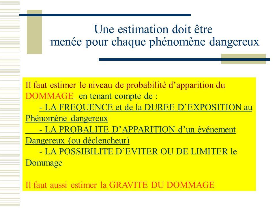 Une estimation doit être menée pour chaque phénomène dangereux Il faut estimer le niveau de probabilité dapparition du DOMMAGE, en tenant compte de :