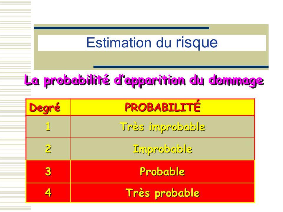 La probabilité dapparition du dommage DegréPROBABILITÉ 1 Très improbable 2Improbable 3Probable 4 Très probable Estimation du risque