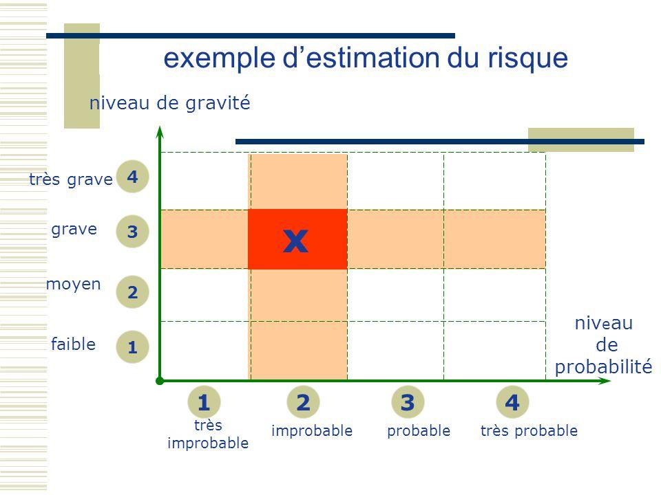 niveau de gravité très improbable probabletrès probable très grave grave moyen faible 1 2 3 4 1234 niv e au de probabilité x exemple destimation du ri