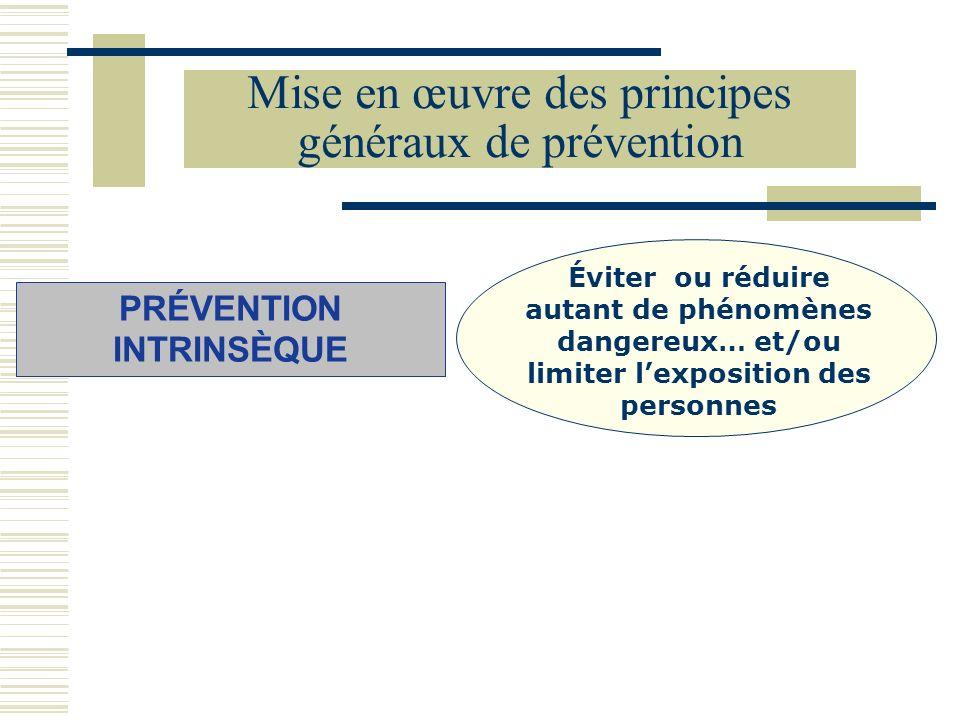 Mise en œuvre des principes généraux de prévention PRÉVENTION INTRINSÈQUE Éviter ou réduire autant de phénomènes dangereux… et/ou limiter lexposition