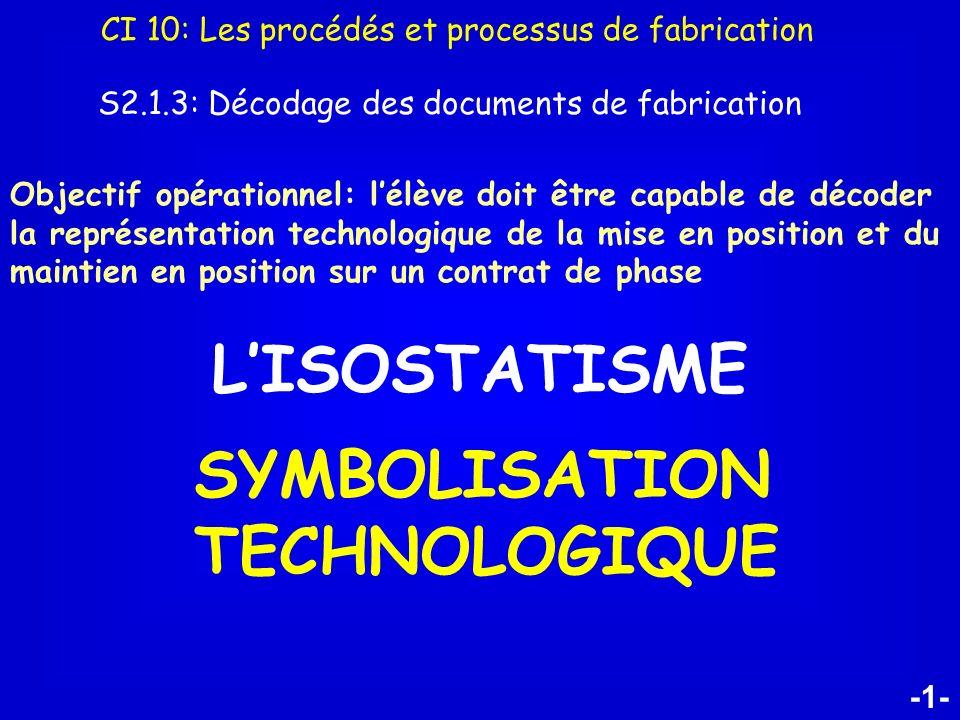 -1- LISOSTATISME SYMBOLISATION TECHNOLOGIQUE CI 10: Les procédés et processus de fabrication S2.1.3: Décodage des documents de fabrication Objectif op