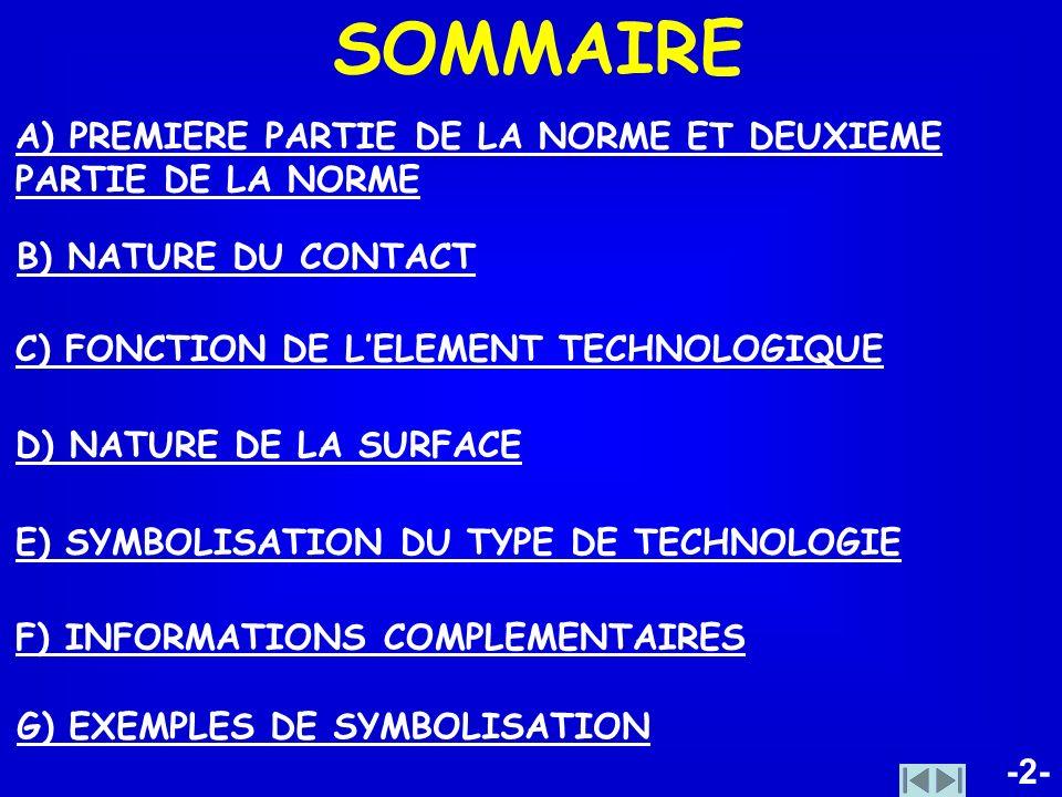 -2- SOMMAIRE G) EXEMPLES DE SYMBOLISATION F) INFORMATIONS COMPLEMENTAIRES A) PREMIERE PARTIE DE LA NORME ET DEUXIEME PARTIE DE LA NORME B) NATURE DU C